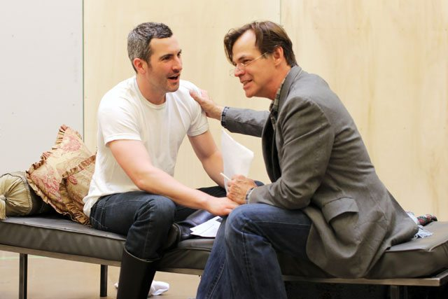 David Beazely and Stuart Hughes in rehearsal for Entertaining Mr. Sloane. Photo by Nathan Kelly.