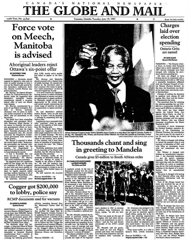 Front page, the Globe and Mail, June 19, 1990