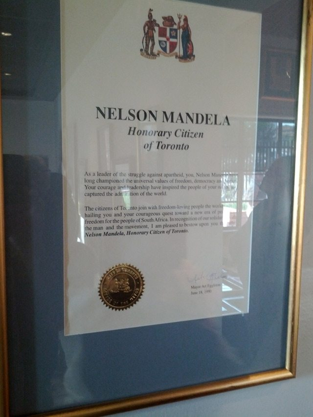 Nelson Mandela's honorary Toronto citizenship certificate, on display at Mandela House in Soweto, South Africa  Photo by Bert Archer