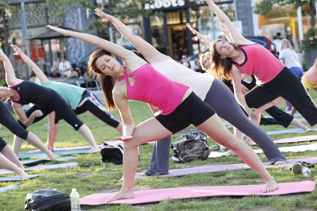 Shop till you drop, then stretch it out with a free yoga class in the Town Square. Photo courtesy of the Shops at Don Mills.