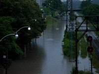 Bayview Avenue flooded in the Don Valley. Photo by Vik Pahwa from the Torontoist Flickr Pool.