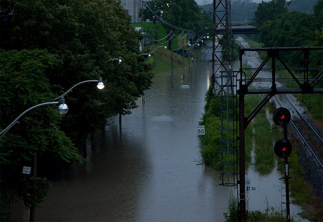 Bayview Avenue flooded in the Don Valley  Photo by Vik Pahwa from the Torontoist Flickr Pool