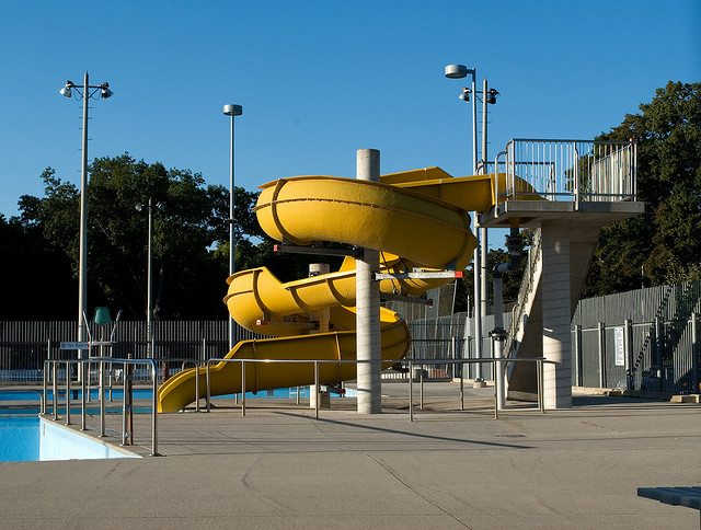 A water slide at Alex Duff Memorial Pool  Photo by Scott Snider, from the Torontoist Flickr Pool