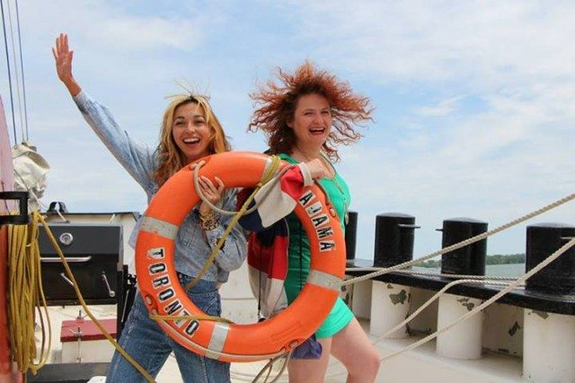 Maylee Todd and Inessa Frantowski aboard the Tall Ship Kajama. Photo by Darren Michael Wells.