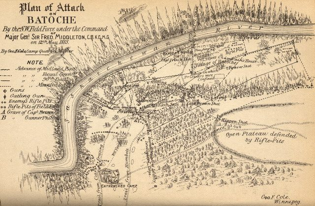 Plan of Attack on Batoche (1886), under Creative Commons, from Wyman Laliberte's Manitoba Historical Maps Flickr Collection