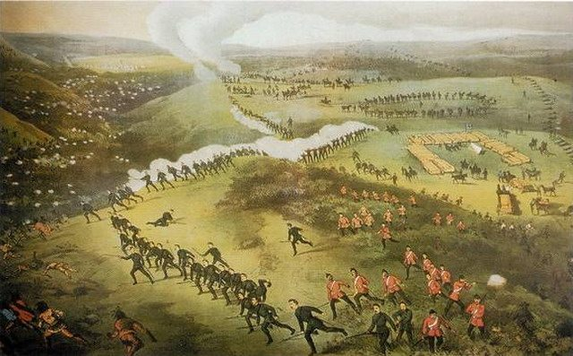 Lithograph of the Battle of Cut Knife by Fred Curzon, 1885  From Wikimedia Commons
