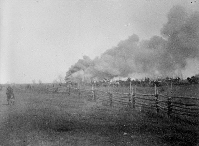 Photo of the Battle of Batoche by James Peters, 1885  From Wikimedia Commons