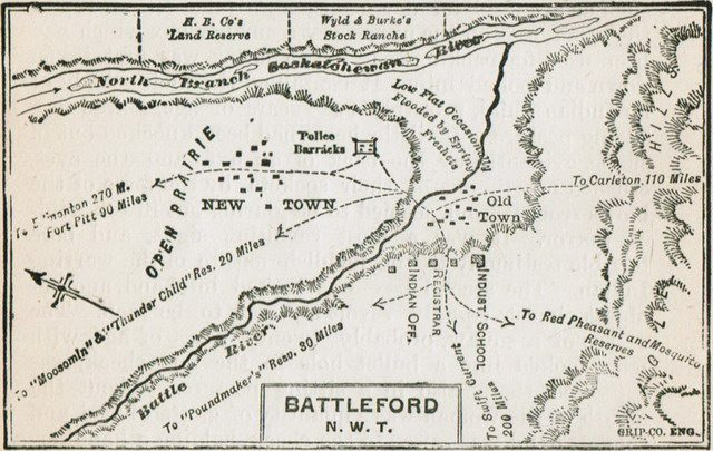 Map of Battleford and area from Charles Pelham Mulvaney's The History of the North West Rebellion of 1885 (A H  Hovey, 1885)