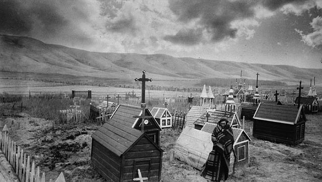 Photo of the graveyard at Fort Qu'Appelle by O B  Buell, ca  1885  From the Library and Archives Canada (PA 118766)
