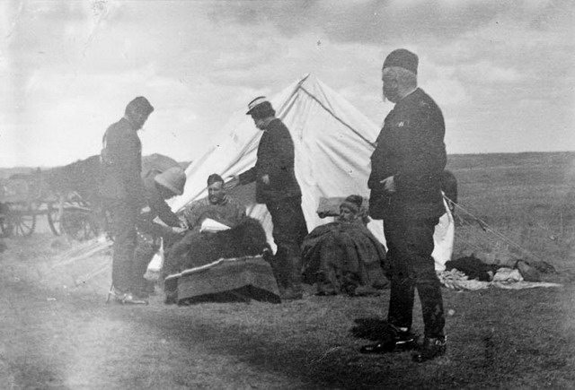 Photo of General Middleton (foreground) and his wounded aides after Fish Creek by James Peters, April 25, 1885  From the Library and Archives Canada (C 003453)