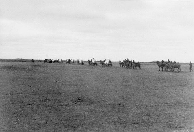 Photo of wounded soldiers leaving the front for Saskatoon, ca  1885 by Frederic Hatheway Peters  From the Library and Archives Canada (C 018584)