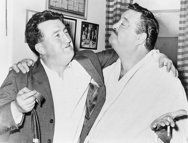 Photo of Brendan Behan and Jackie Gleason in New York, 1960, from Wikimedia Commons