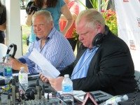 Rob and Doug Ford host their weekly radio from outside the Direct Energy Centre on August 18.