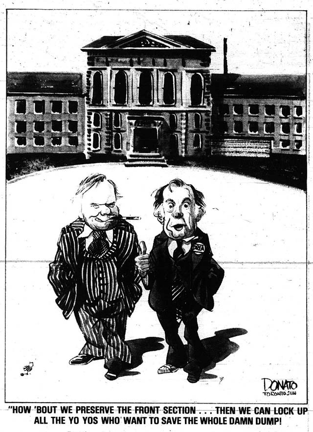 Cartoon of Ontario Premier William Davis and Frank Drea by Andy Donato  The Toronto Sun, November 13, 1977