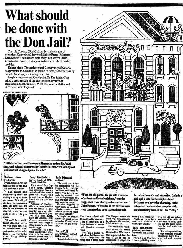 A few celebrity suggestions on what to do with the old Don Jail  The Toronto Star, December 18, 1977