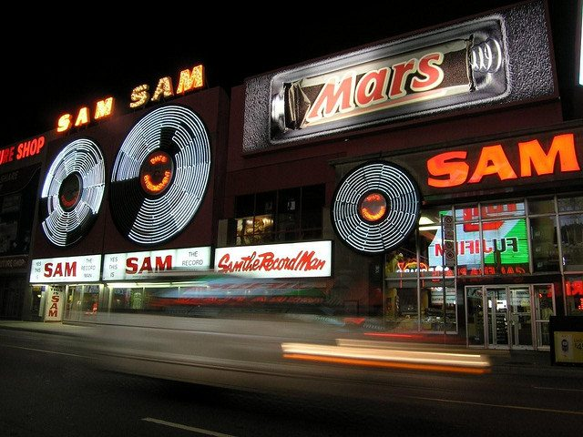 The Sam's sign, in its heyday  Photo by Shane S , from the Torontoist Flickr Pool
