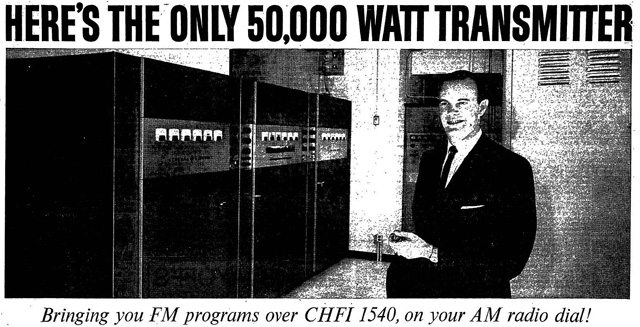 Ted Rogers and his transmitter  Advertisement, the Toronto Star, September 11, 1962