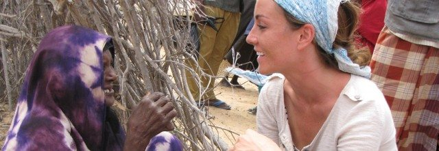 Amanda Lindhout on a humanitarian mission to Somalia, years after her kidnapping. Photo courtesy of Global Enrichment Foundation.