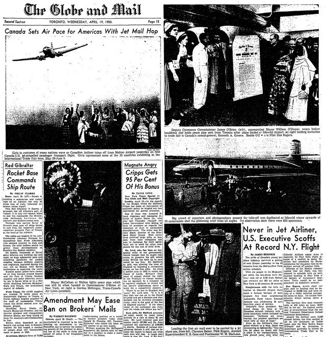 Coverage of the C 102 Jetliner departure for New York from the Globe and Mail (April 19, 1950)