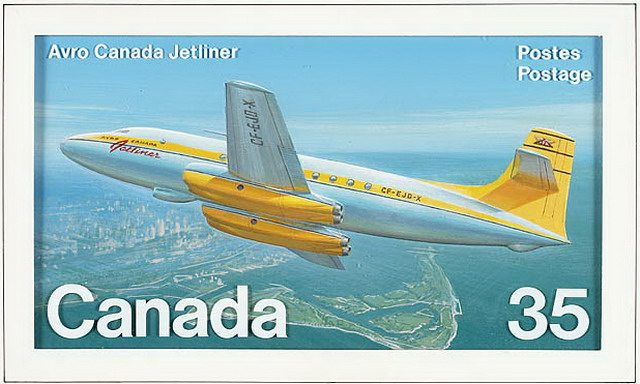 Canada Post stamp depicting the Avro Canada C 102 Jetliner, 1981, from Library and Archives Canada
