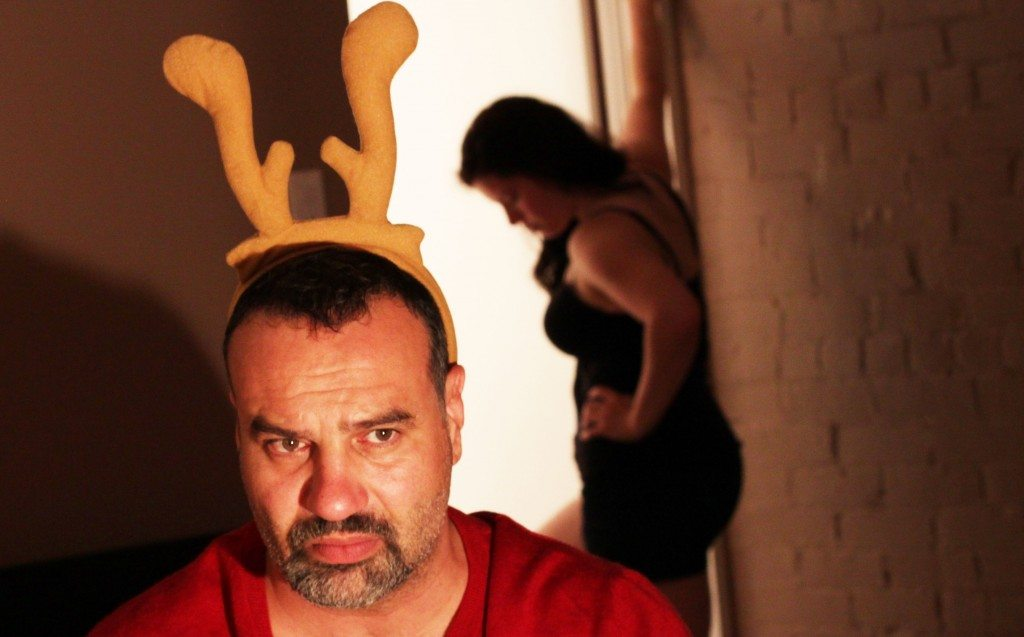 Tony Nappo and Amy Keating co star in Murderers Confess At Christmastime  Detail of a photo by Keith Barker
