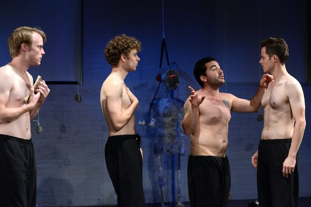 David Coomber, Alex Fiddes, Cyrus Faird, and Julian DeZotti play four inmates in Fortune and Men's Eyes. Photo by Guntar Kravis.