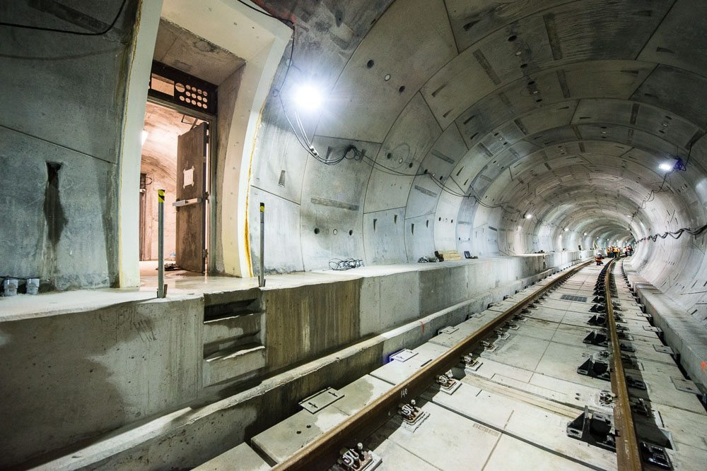 Inside the tunnel of the subway extension on the spadina line.