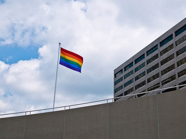 A rainbow flag flies in Nathan Phillips Square  Photo by Victor Magdic, from the Torontoist Flickr Pool
