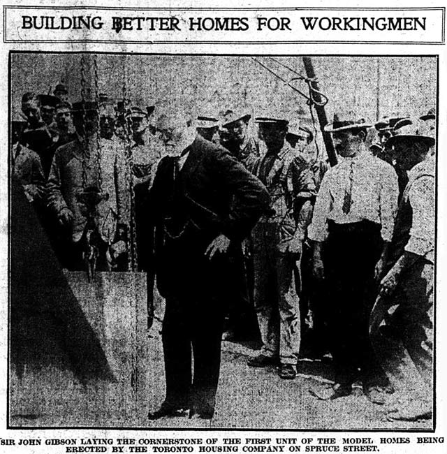 Ontario Lieutenant Governor Sir John Gibson laying the cornerstone of Spruce Court  The News, June 27, 1913