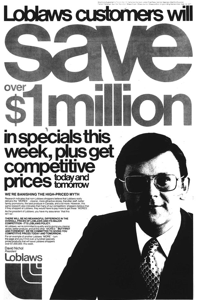 Advertisement, the Toronto Star, September 14, 1977  Click here to see what some of the savings were
