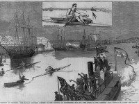 The Third Hanlan-Courtney Race, on the Potomac River at Washington, D.C.. From the Library of Congress.