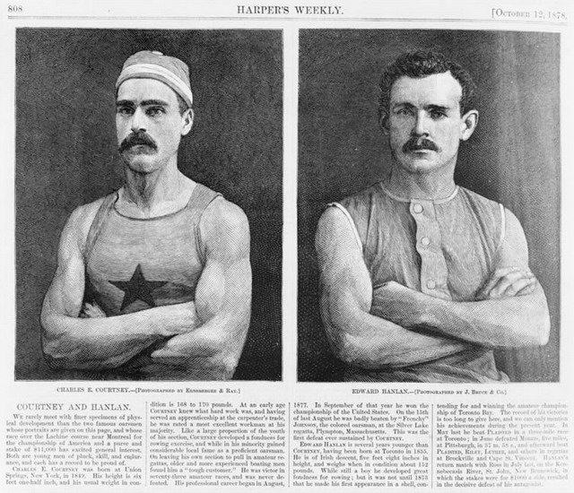 Harper's Weekly portraits of Charles Courtney and Edward Hanlan, 1878  From the Library of Congress