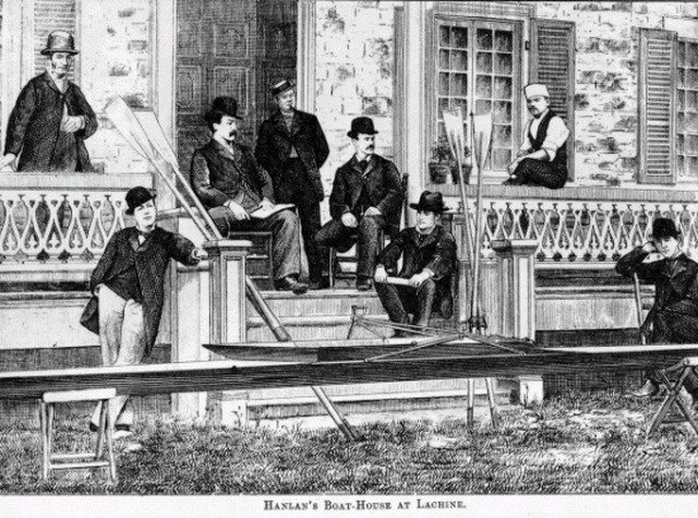 Canadian Illustrated News image of Hanlan's Boat House at Lachine, October 12, 1878  From Library and Archives Canada