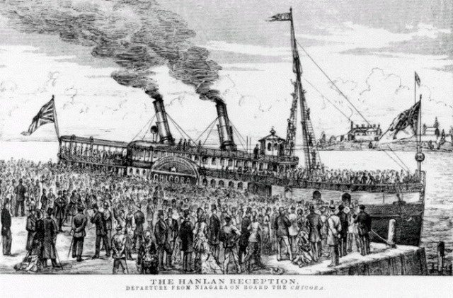 Canadian Illustrated News image of Hanlan's return to Toronto aboard the Chicora, August 2, 1879  From the Library and Archives Canada