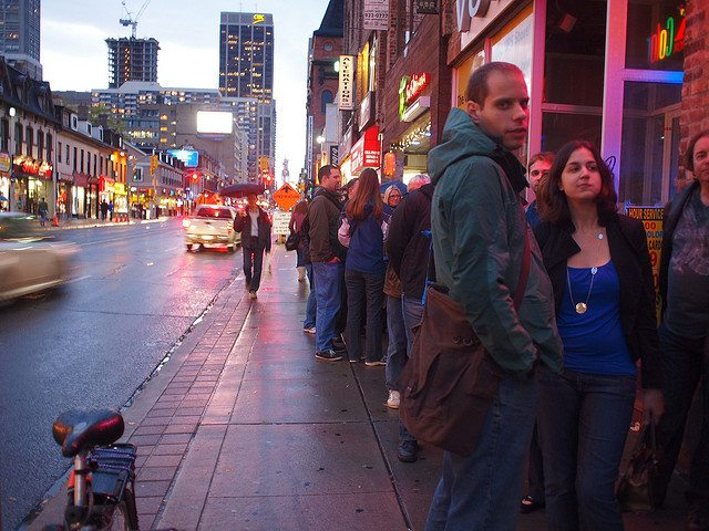 Lining up in front of Bar Volo. Photo by markosaar, from the Torontoist Flickr Pool.