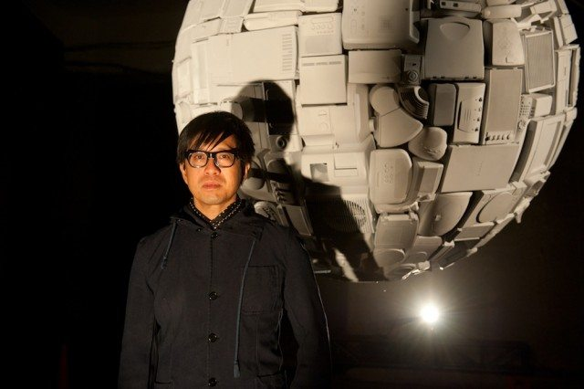 An Te in front of his 2012 Nuit Blanche exhibit, White Dwarf.