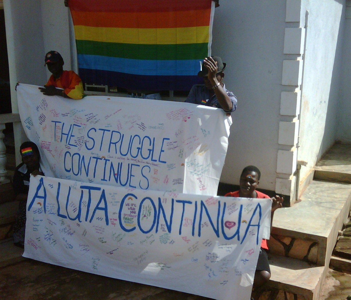 Residents of a GEHO safe house, sending their love back to Toronto. Photo courtesy of A Luta Continua.