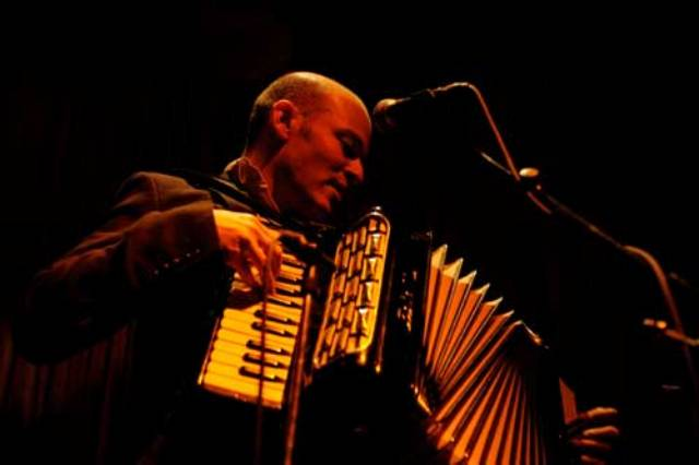 Author Geoff Berner and his accordion. Photo courtesy of This Is Not a Reading Series.