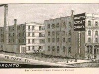 The Crompton Corset Company on York Street. Charles Pelham Mulvany, Toronto: Past and Present. A Handbook of the City. (W.E. Caiger, 1884: Toronto.)