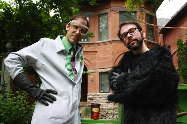 Jeff Orchard as Dr. Notto Nefarious and Tim Nussey as Half-Ape in Monkeyman Productions's Nefarious Bed and Breakfast  Photo by Linn Oyen Farley