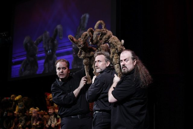 Puppeteers Michael Oosterom, Brian Henson, and Tyler Bunch. Although they won't be appearing in Toronto, the bunnies will be. Photo by Carol Rosegg.