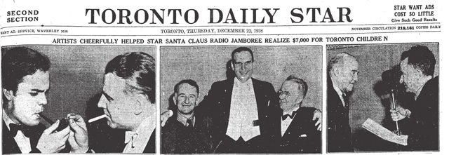"Orson Welles ""shown here smoking one of the set of pipes presented to him at the civic reception at noon yesterday "" Welles is pictured with Rupert Lucas  The middle picture shows Star writer Greg Clark, Denton Massey, and Dr  Allan Roy Dafoe  The picture on the right shows Clark speaking with Wellington House resident William Williams  The Toronto Star, December 22, 1938"