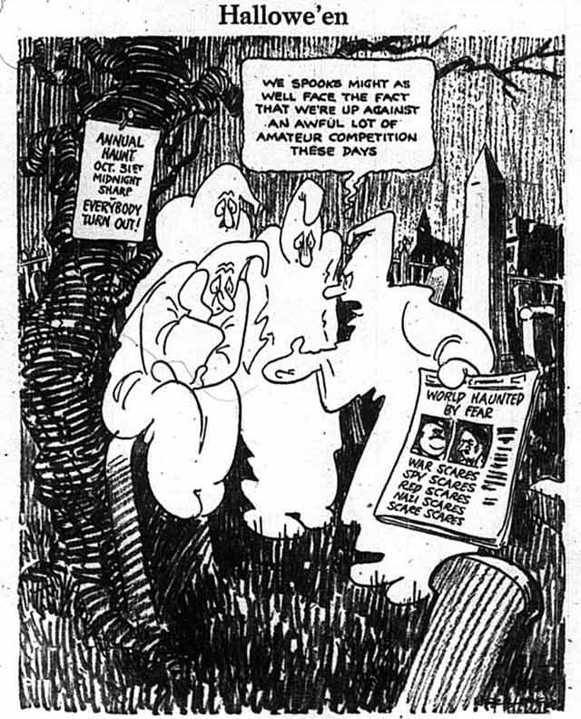 Cartoon capturing the general mood of Halloween 1938, the Telegram, October 31, 1938
