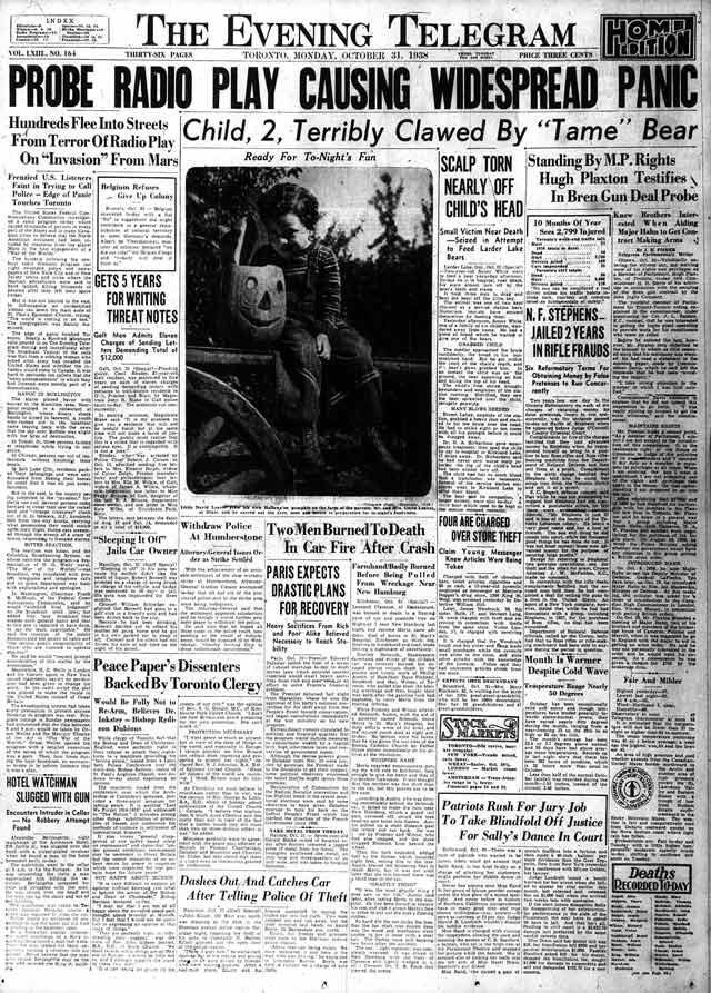 Front page, the Telegram, October 31, 1938