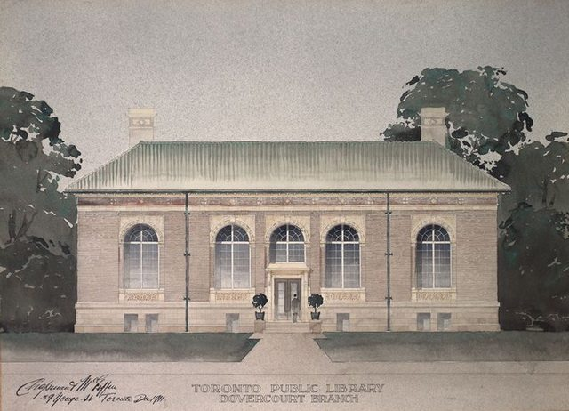Architectural drawing of Dovercourt (now Bloor Gladstone) Library Branch, ca  1910s  From the Toronto Public Library's Pinterest
