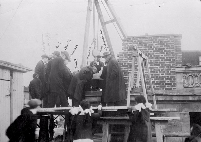 Laying of the cornerstone at the  Bloor and Gladstone branch of the Toronto Public Library, Bloor Street West, October 1912  Chapman is at far left  From the Toronto Public Library Digital Collection