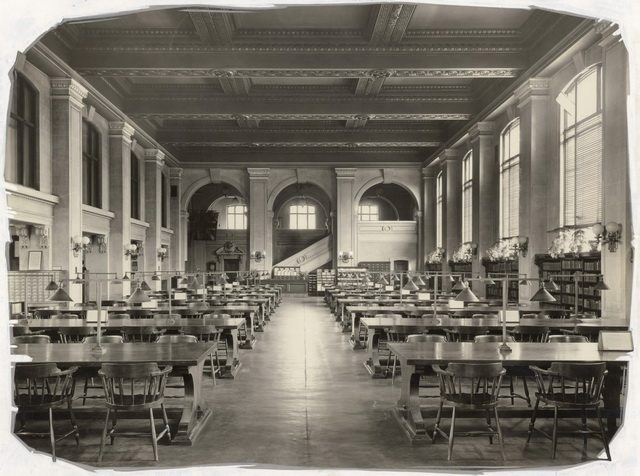 Interior view of Central Reference Library, looking east, by Pringle and Booth, 1920, from the Toronto Public Library