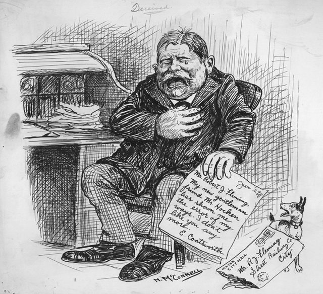 Editorial cartoon of R J  Fleming by Newton McConnell, ca  1911  From the Archives of Ontario (C 301)