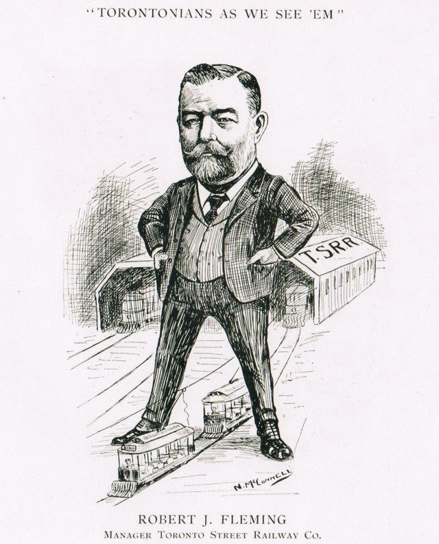Caricature of R J  Fleming by Newton McConnell from Torontonians As We See 'Em (The Canada Newspaper Cartoonists' Association, 1905)