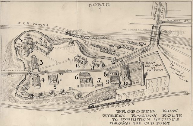 Sketch of the proposed street railway route to Exhibition Grounds through the Old Fort, attributed to Owen Staples, 1905  From the Toronto Public Library Digital Archive